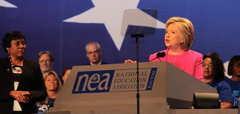 Clinton in Washington, on July 5, addressed the NEA conference
