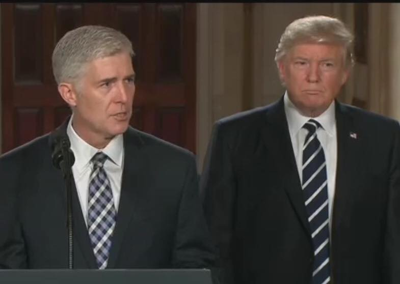 Judge Neil Gorsuch, speaks at the White House on January 31, as he is nominated to the US Supreme Court to fill the vacancy left by the death of Judge Scalia