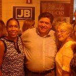 Pritzker and Stratton with supporters